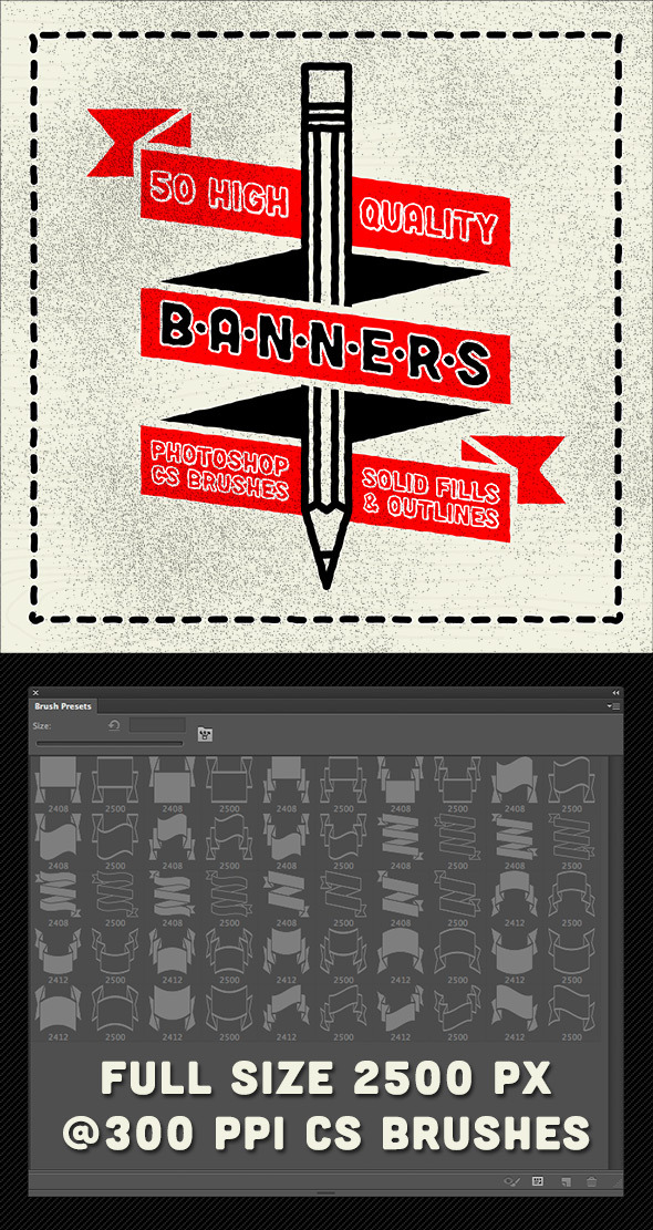 50 Photoshop Classic Banner Brushes - Brushes Photoshop