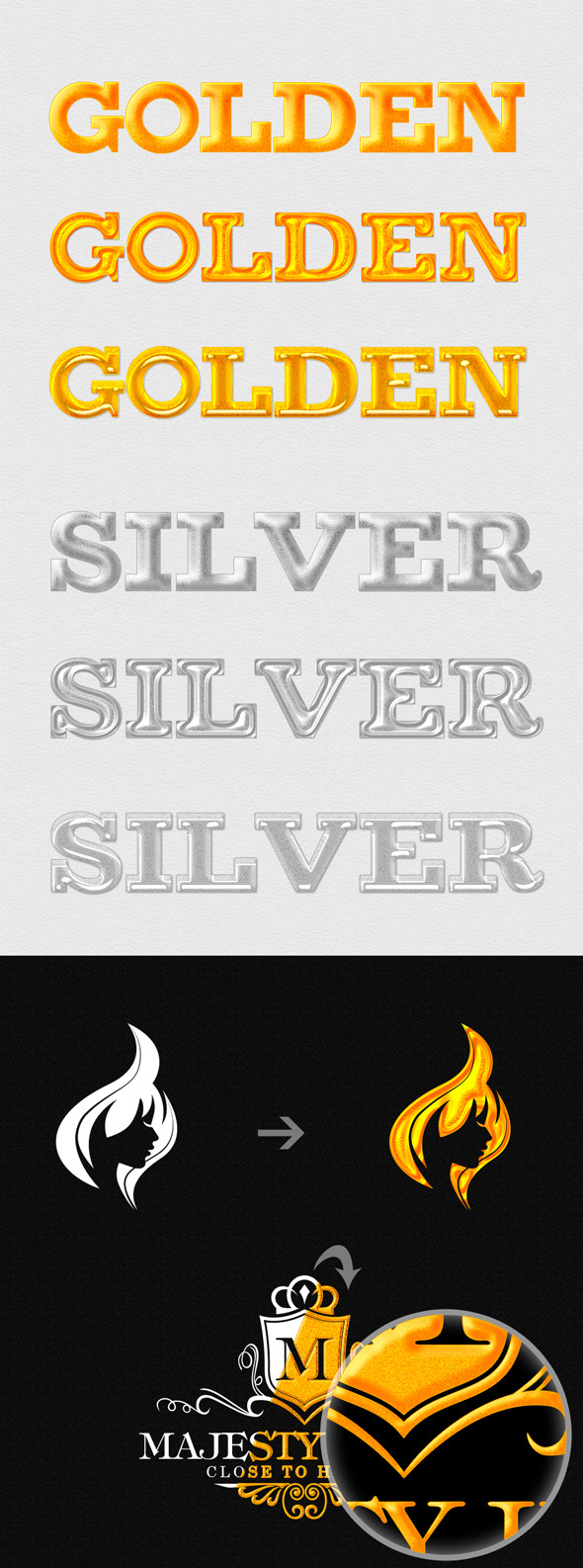 6 Golden and Silver Premium Styles - Styles Photoshop