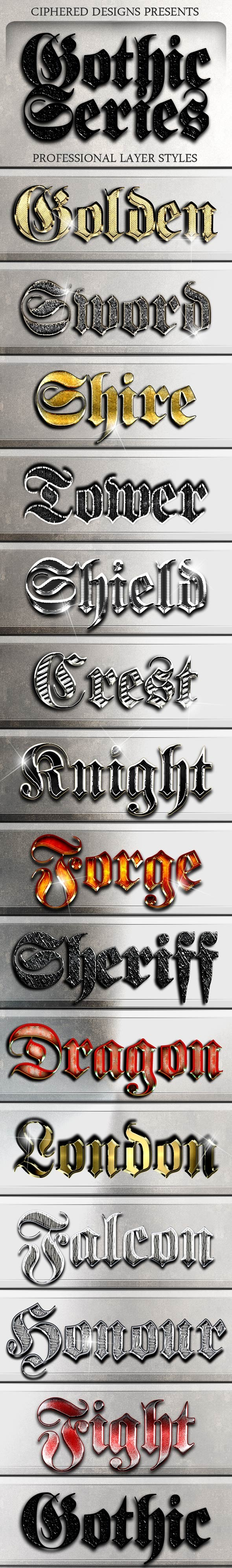 Gothic Series - Professional Layer Styles - Text Effects Styles