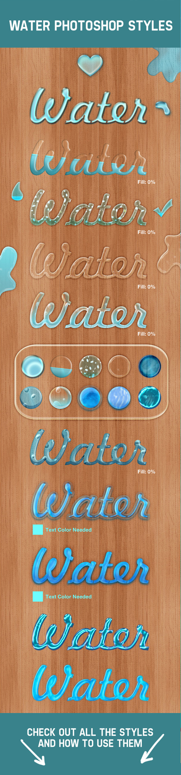 Water Photoshop Layer Styles - Text Effects Actions