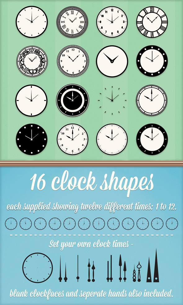 Clock Custom Shapes - Shapes Photoshop