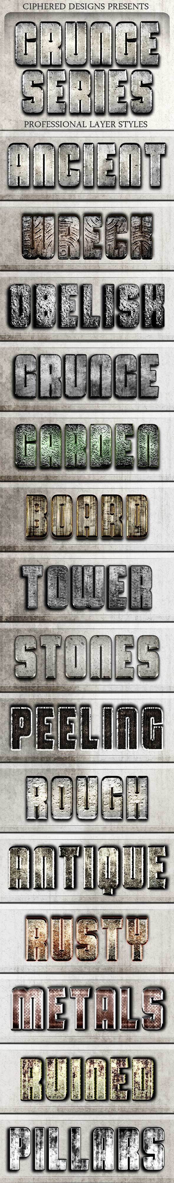 Grunge Series - Professional Layer Styles - Text Effects Styles