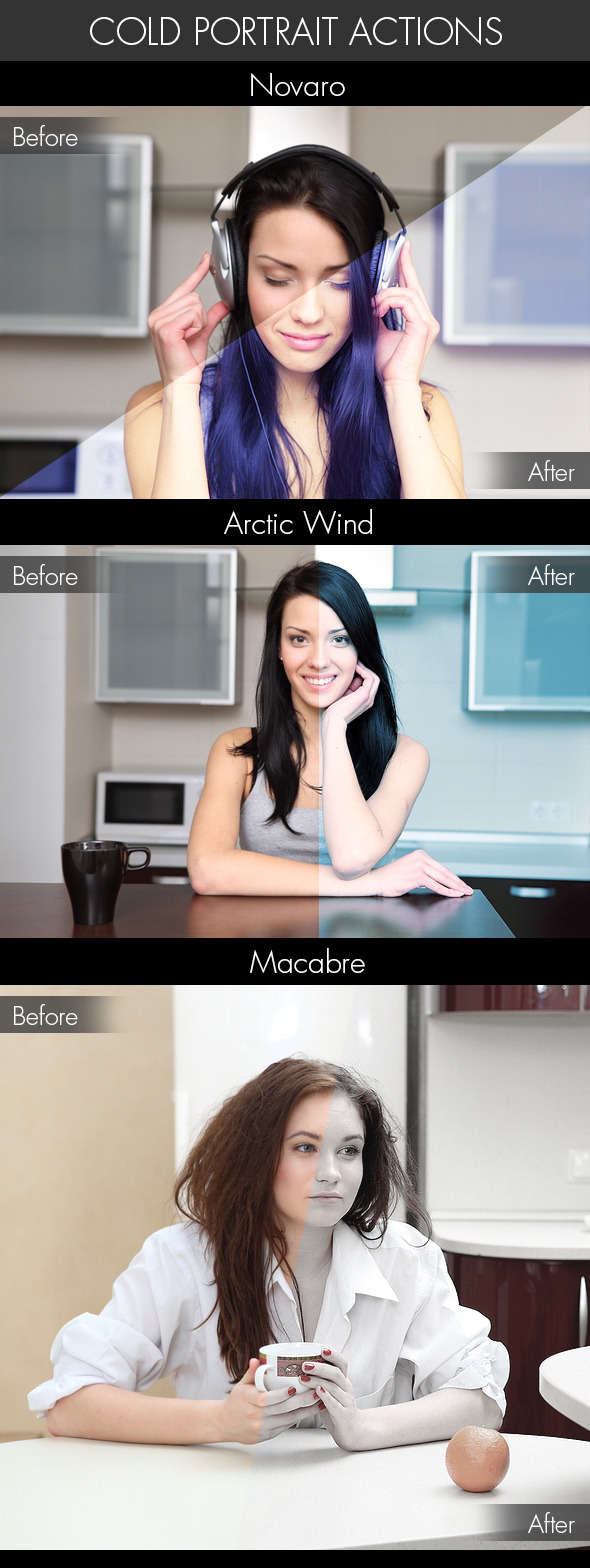 Cold Portrait Actions - Photo Effects Actions