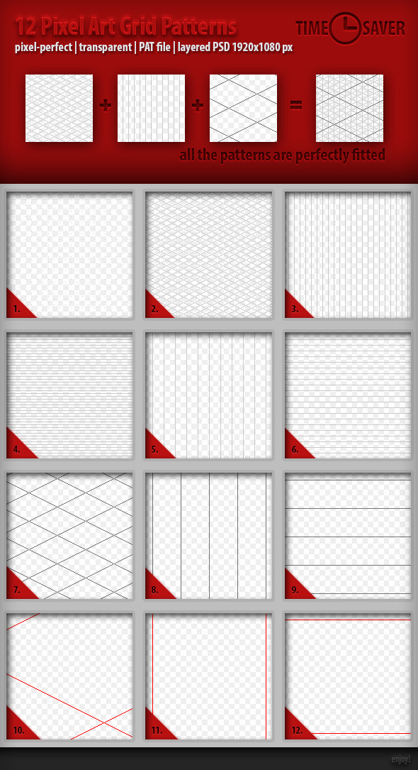12 Pixel Art Grid Patterns - Abstract Textures / Fills / Patterns