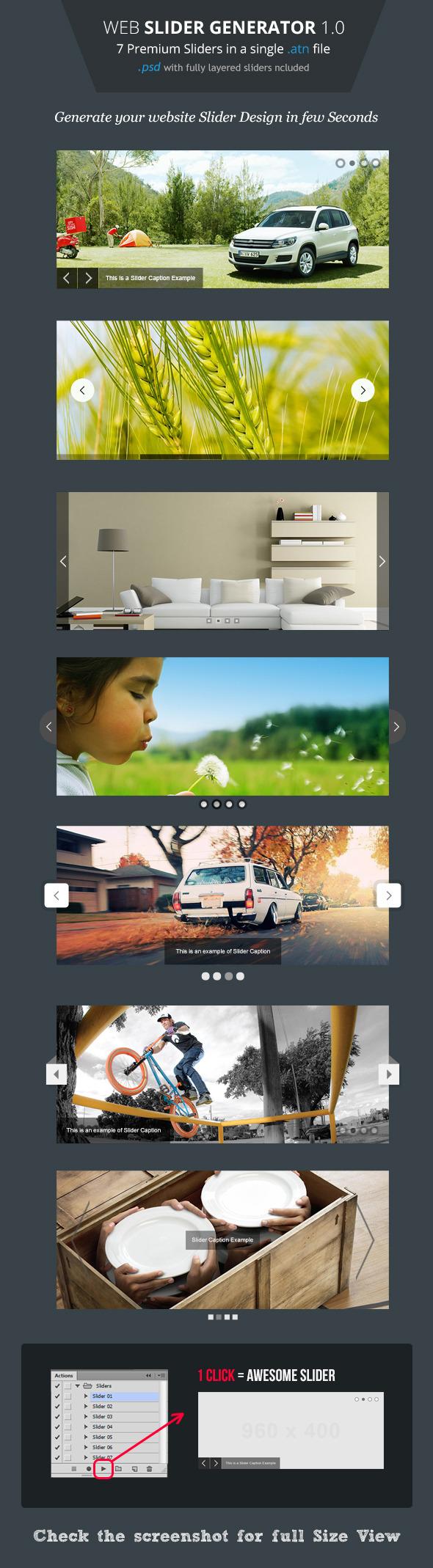 Web Slider Generator - Premium Photoshop Action - Utilities Actions