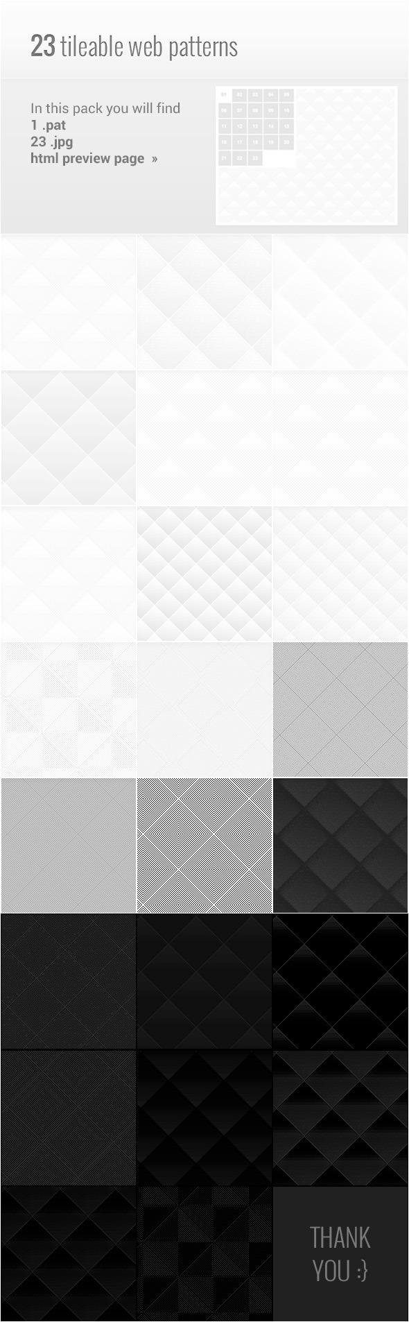23 Light / Dark Web Patterns - Textures / Fills / Patterns Photoshop