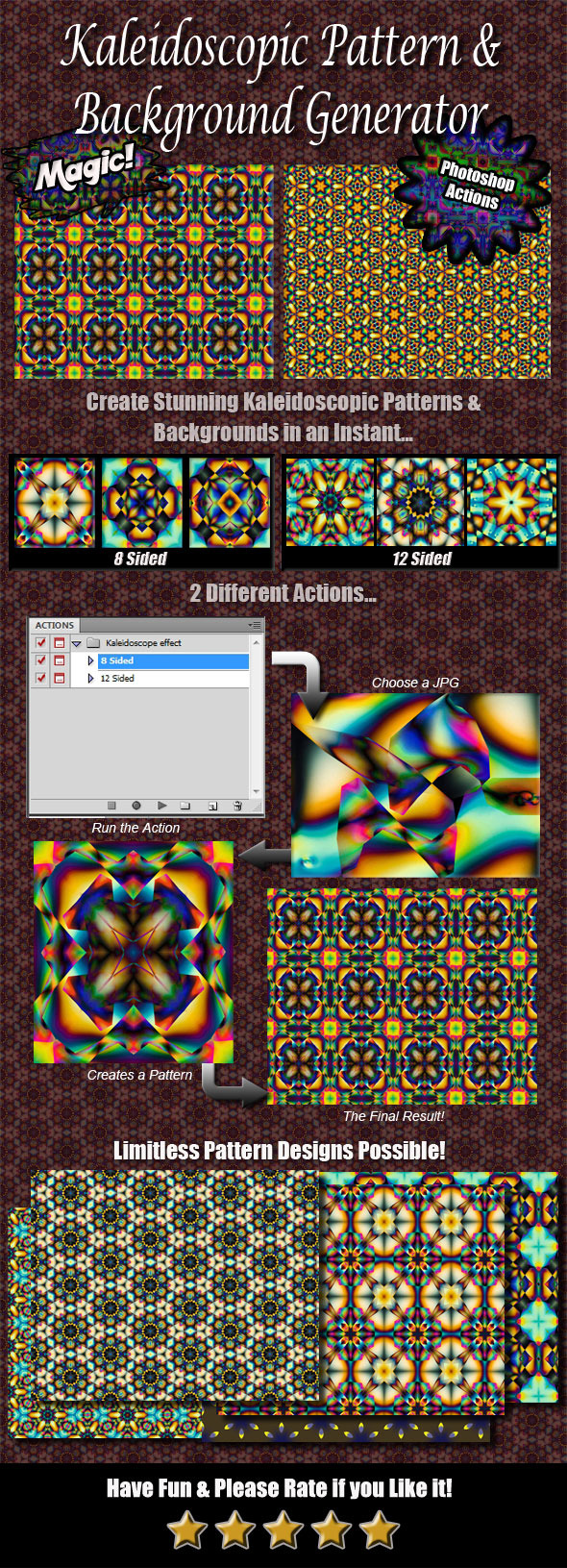 Kaleidoscope Pattern & Background Generator - Actions Photoshop