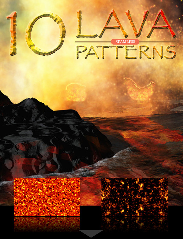 Lava Seamless Patterns - Textures / Fills / Patterns Photoshop