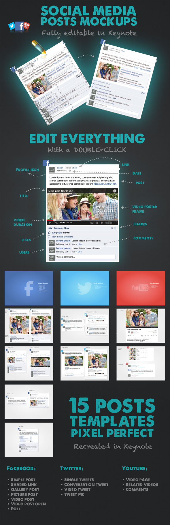 15 Social Media Posts Editable Mockups - Keynote Templates Presentation Templates
