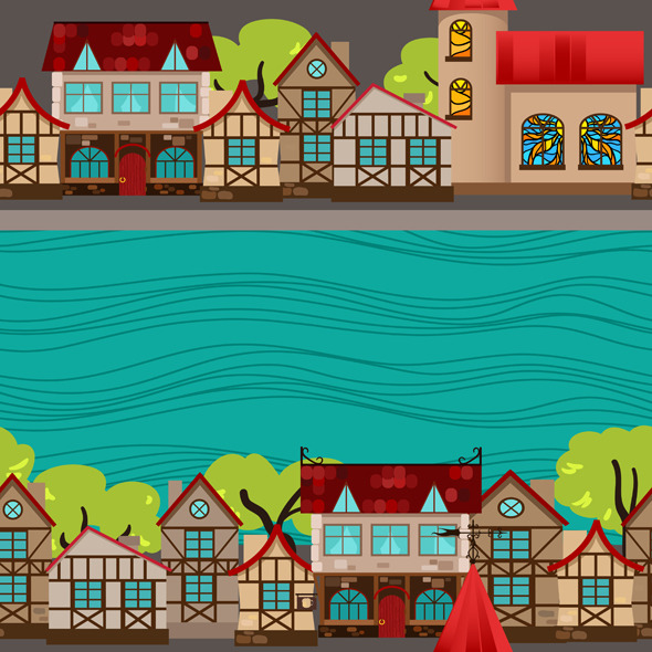 City by the river, seamless pattern - Urban Textures / Fills / Patterns