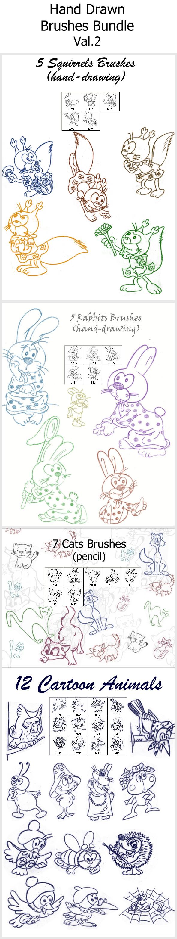 Hand Drawn Brushes Bundle Val.2 - Brushes Photoshop