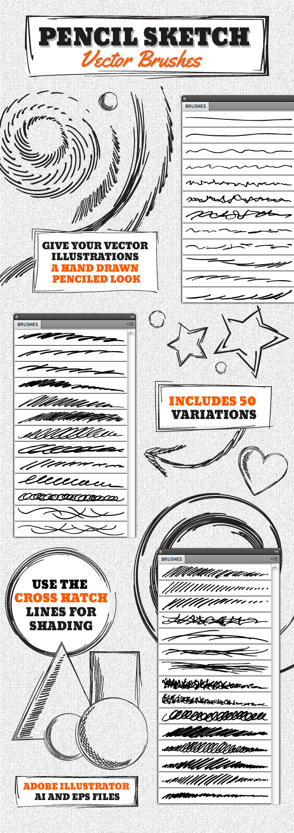 Vector Pencil Sketch Brushes - Artistic Brushes