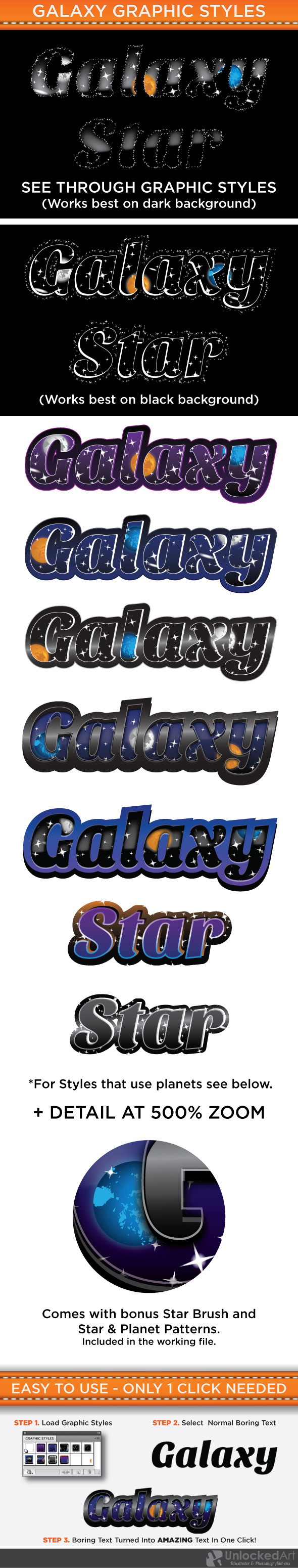 Galaxy Graphic Styles - Styles Illustrator