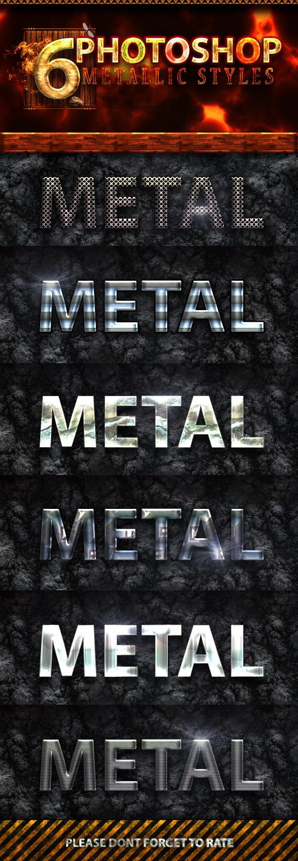 6 Photoshop Metallic Text Styles - Text Effects Styles