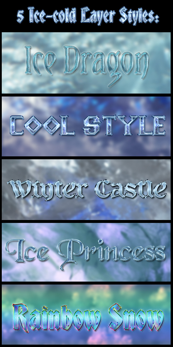 5 Ice-Cold Layer Styles - Text Effects Styles