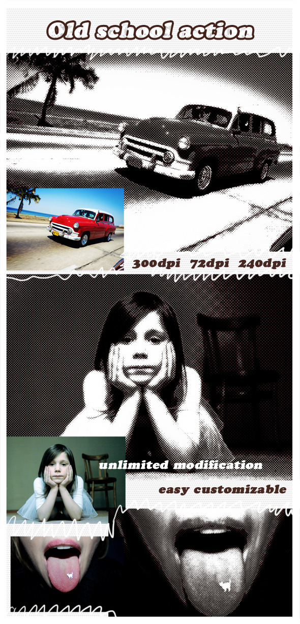 Old School - Photoshop Action - Photo Effects Actions