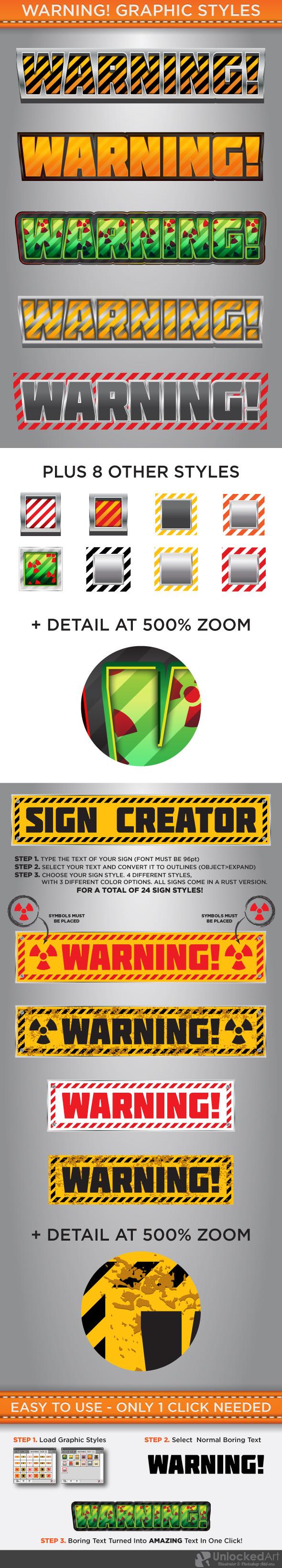 Warning Graphic Styles - Styles Illustrator