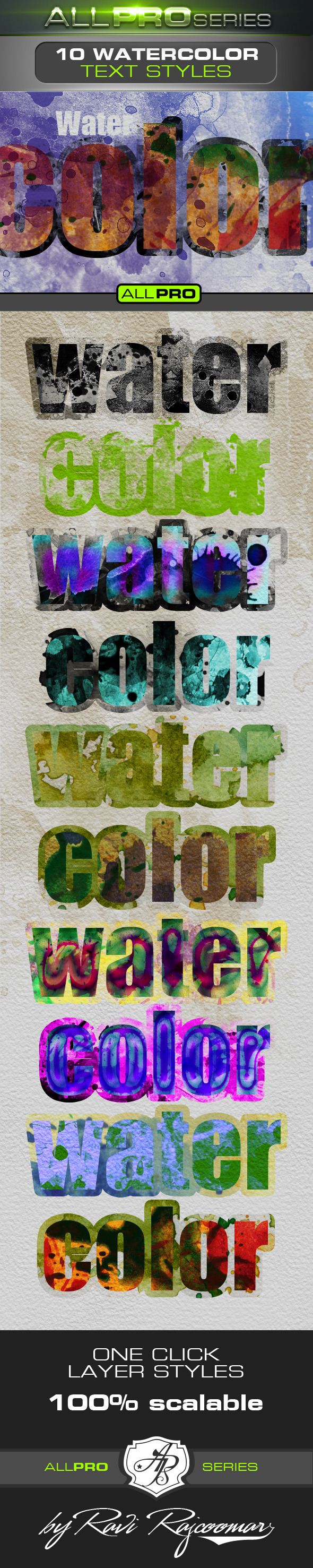 Watercolor Photoshop Text Styles - Text Effects Actions