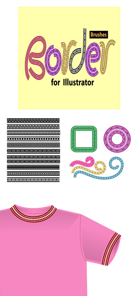 Border Brushes for Illustrator - Brushes Illustrator