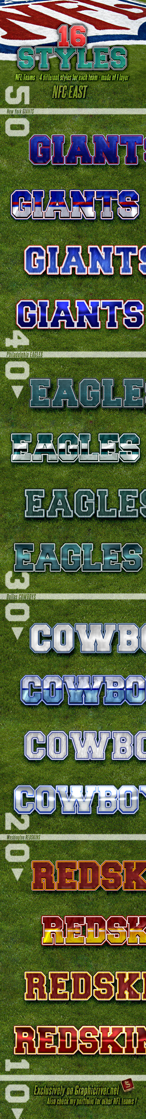 NFL Football Styles - NFC East - Styles Photoshop
