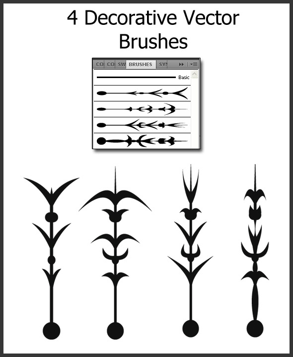 4 Decorative Vector Brushes - Brushes Illustrator