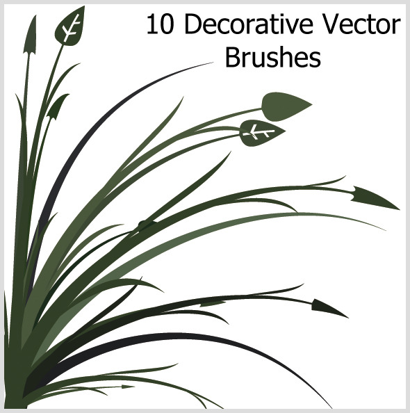 10 Decorative Vector Brushes - Brushes Illustrator