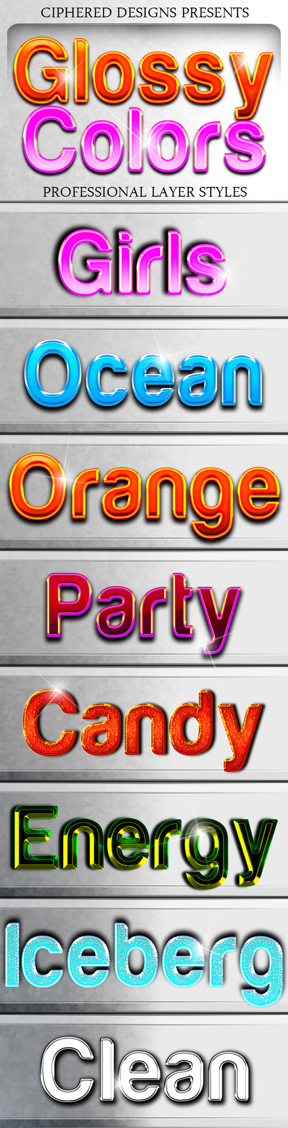 Glossy Colors - Professional Layer Styles - Text Effects Styles