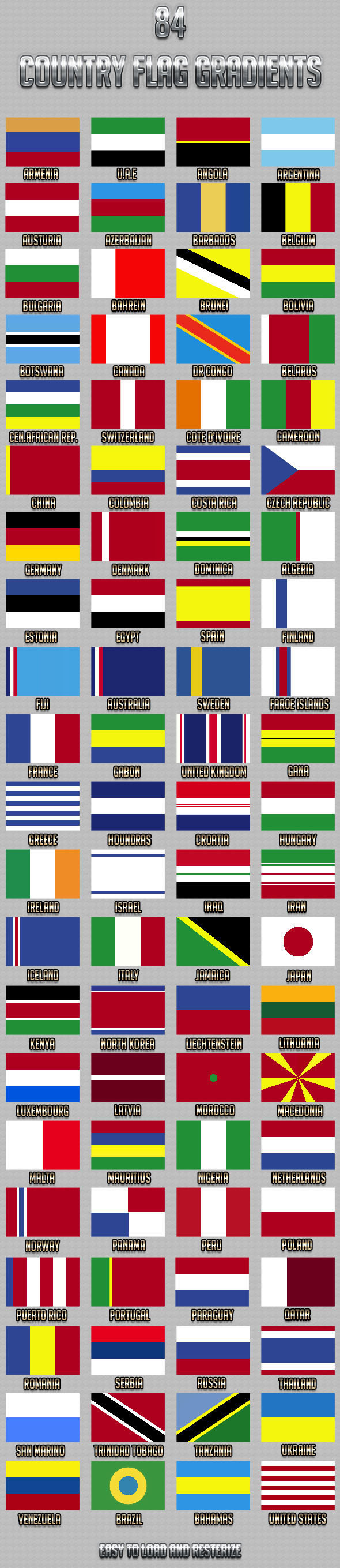 84 Country Flag Gradients - Add-ons