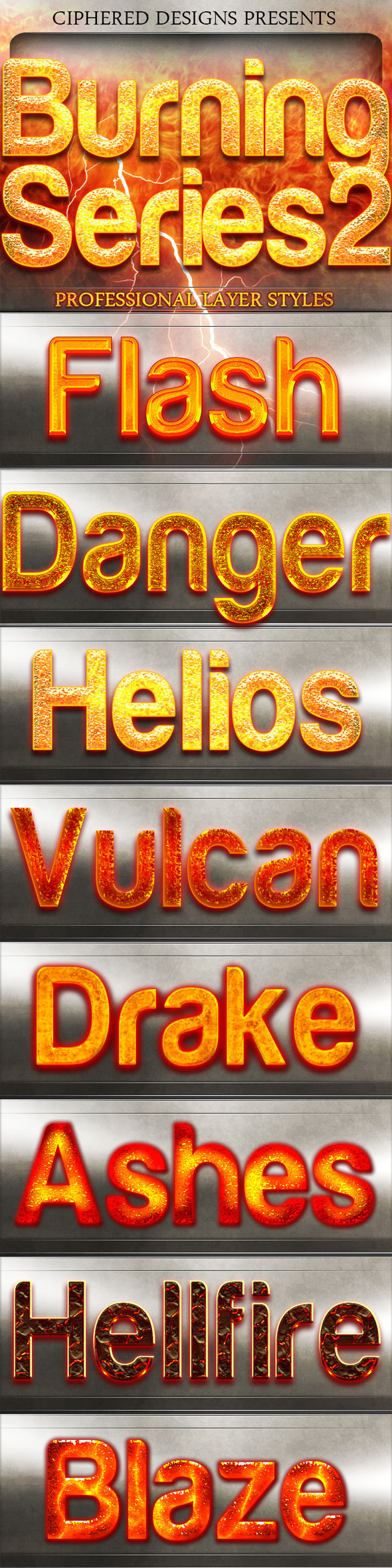 Burning Series 2 - Professional Layer Styles - Text Effects Styles