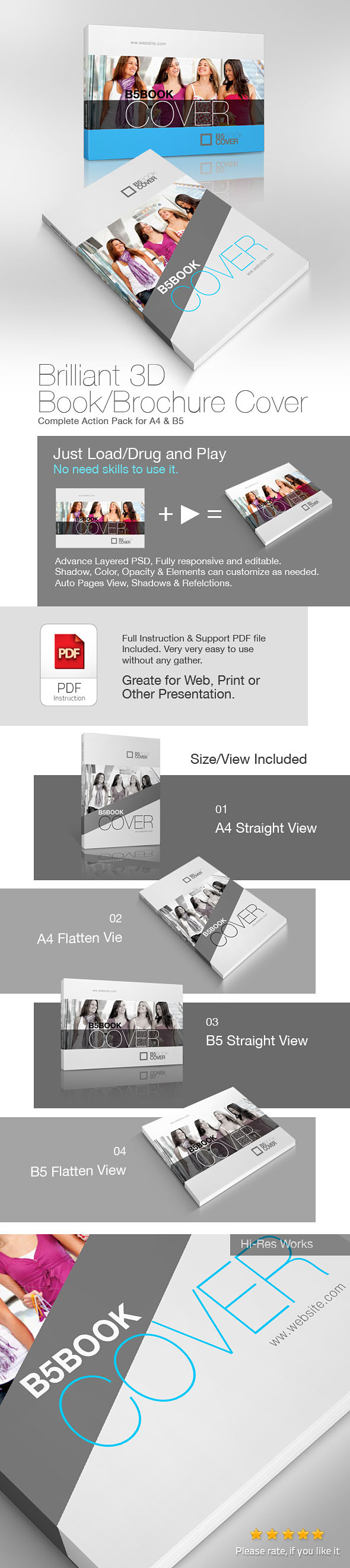 3D Book/Brochure Cover Action
