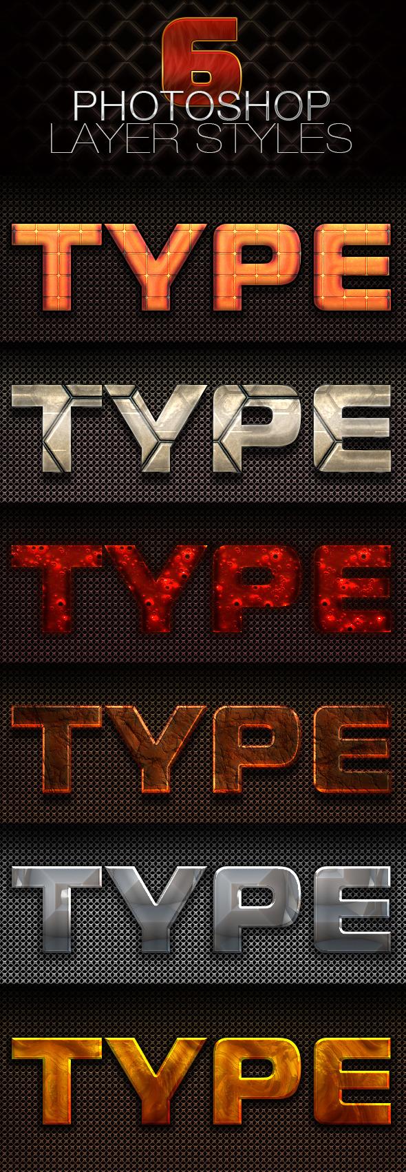 6 Photoshop Layer Styles - Styles Photoshop