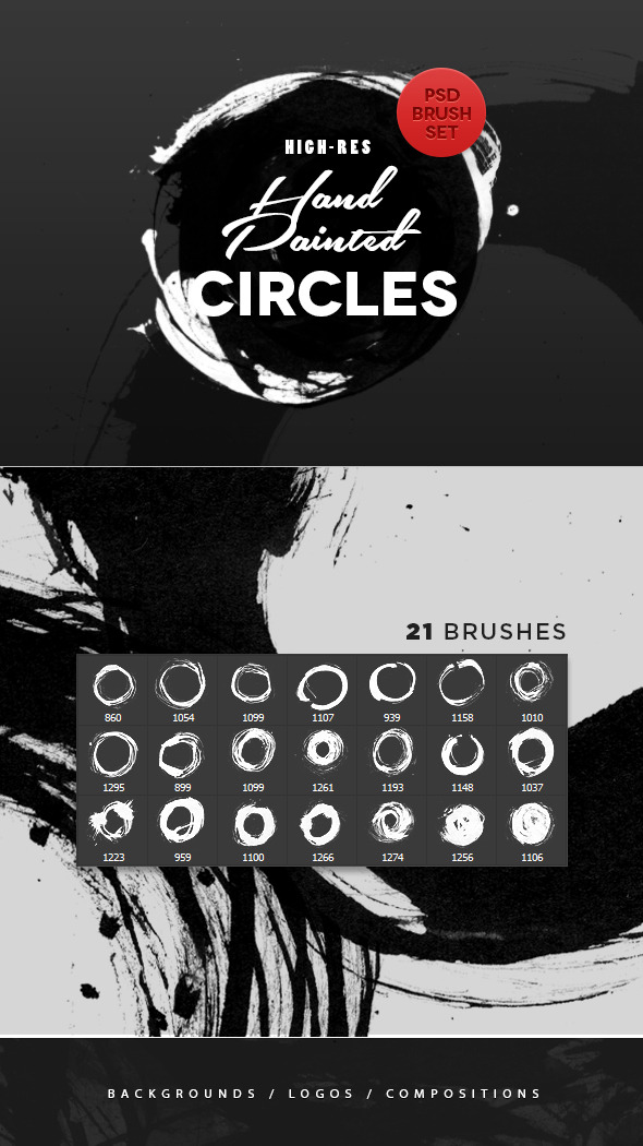 Hand Painted Circles Photoshop Brushes - Artistic Brushes