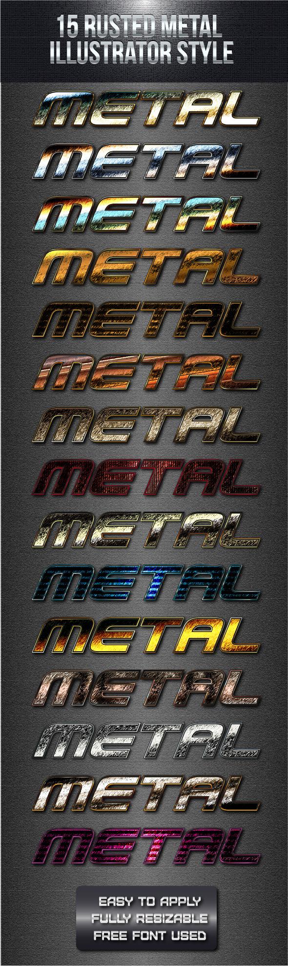 15 Rusted Metal Illustrator Style - Styles Illustrator