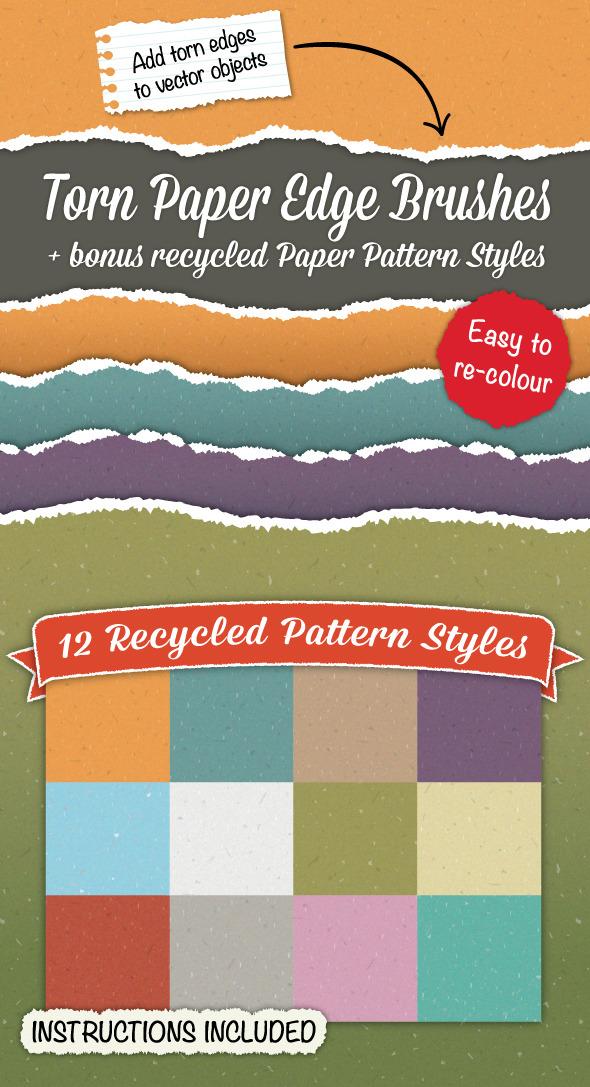 Torn Paper Edge Brushes + Bonus Paper Patterns - Brushes Illustrator