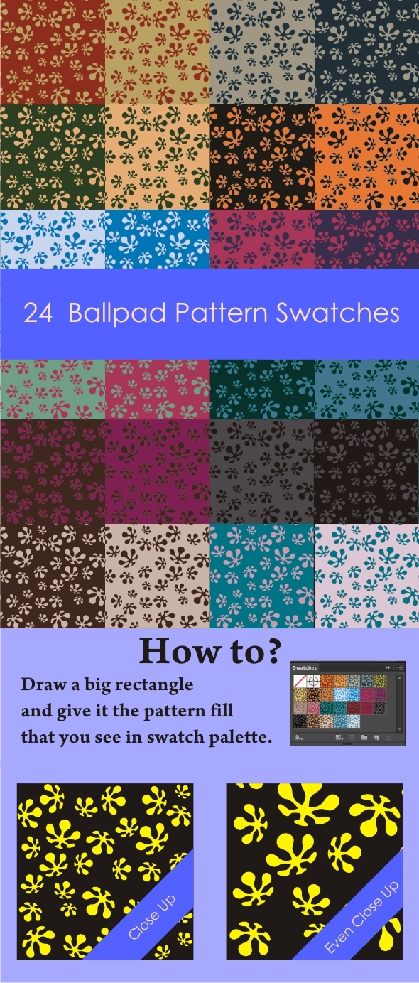 24 Ballpad Pattern Swatches - Abstract Textures / Fills / Patterns