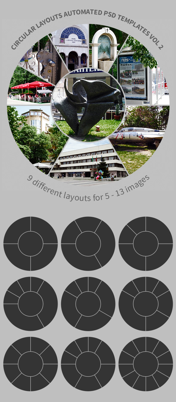 Circular Layouts Automated PSD Templates Vol 2 - Photoshop Add-ons