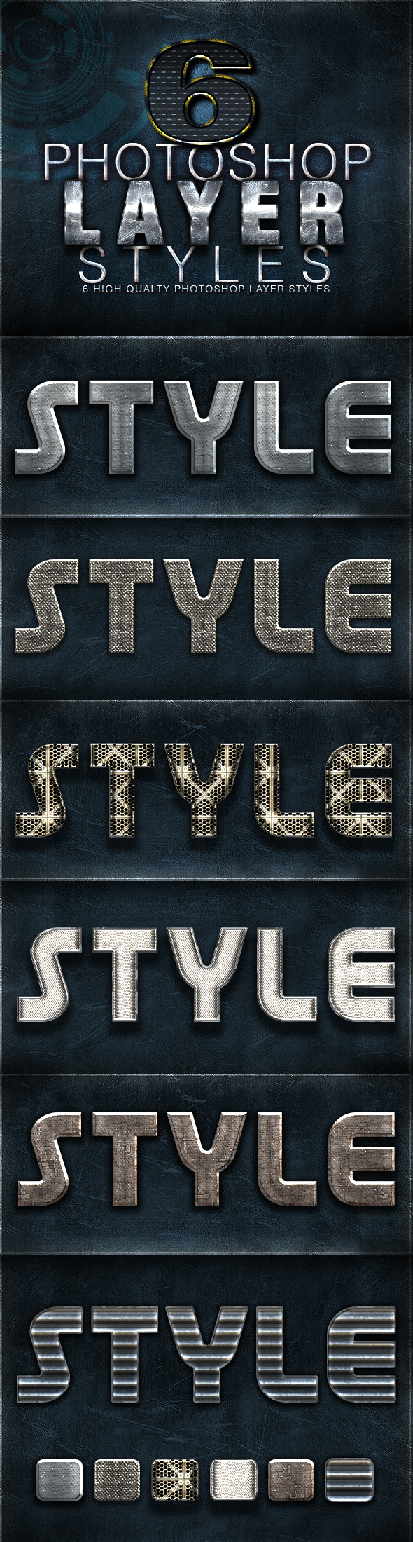 6 Photoshop Layer Styles  - Text Effects Styles