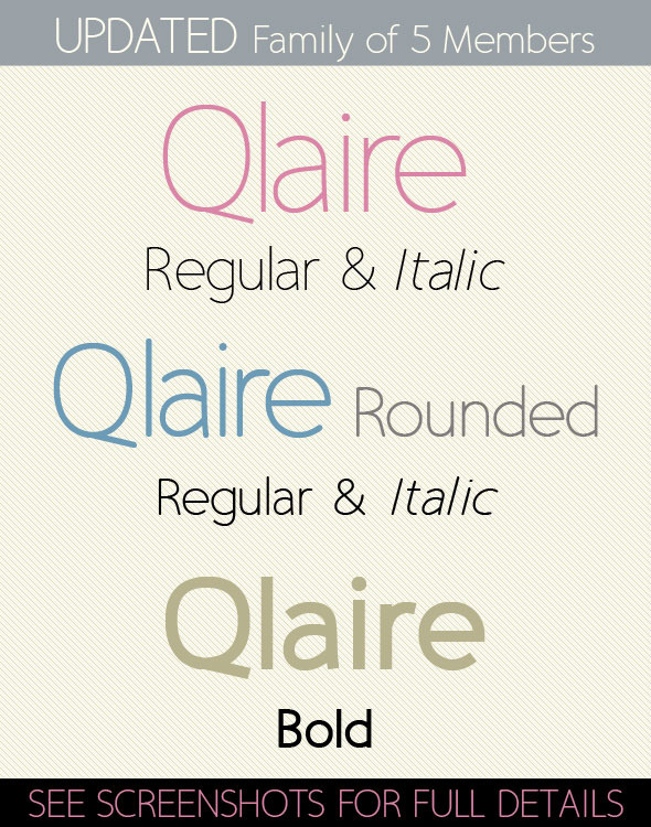 Qlaire; Clean, Modern, Fresh Font Family - Fonts