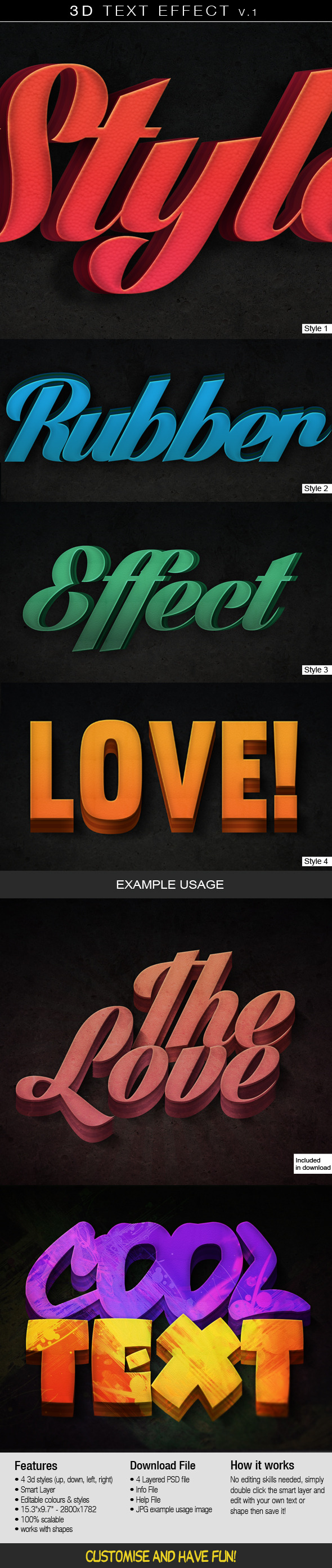 3D Text Effect v.1 - Photoshop Add-ons