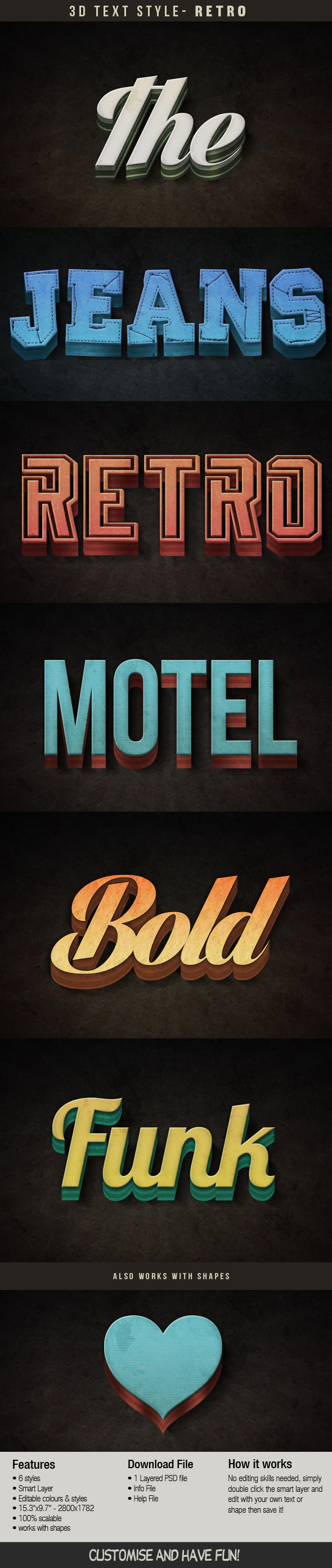 Retro 3D Text Effect - Photoshop Add-ons