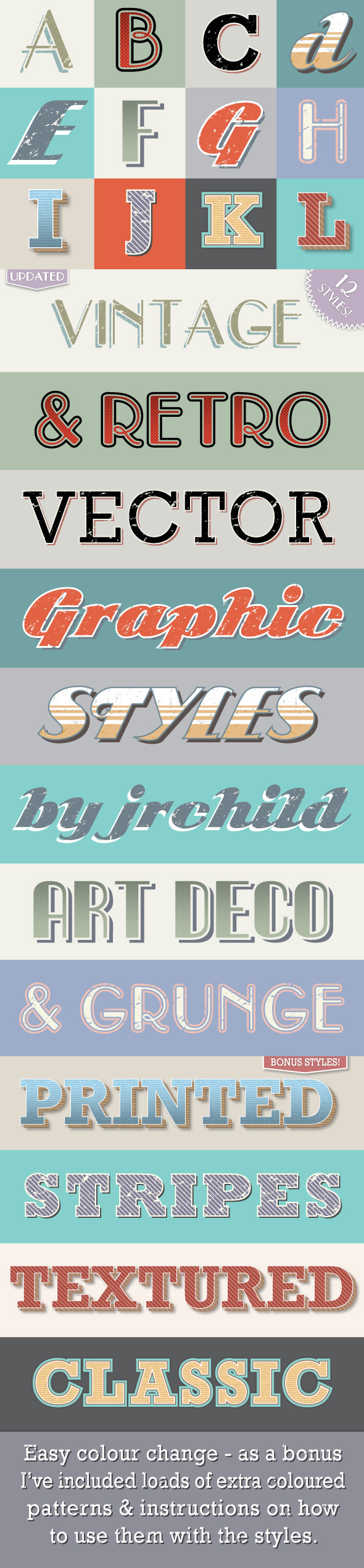 Vintage & Retro Text Styles - Styles Illustrator
