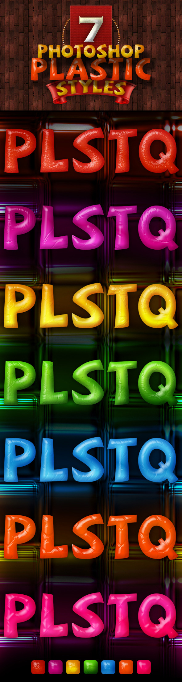 7 Photoshop Plastic Styles - Text Effects Styles