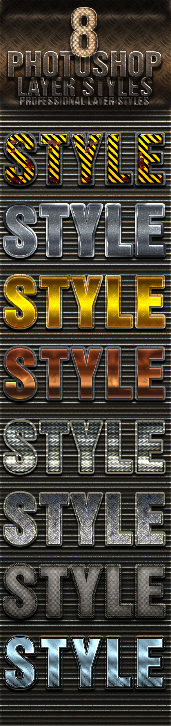 8 Photoshop Layer Styles - Text Effects Styles
