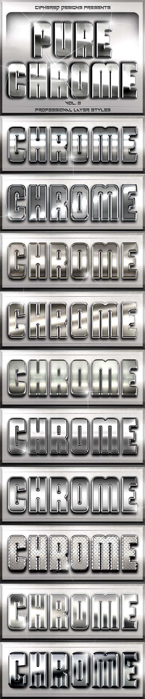 Pure Chrome 3 - Professional Layer Styles - Text Effects Styles
