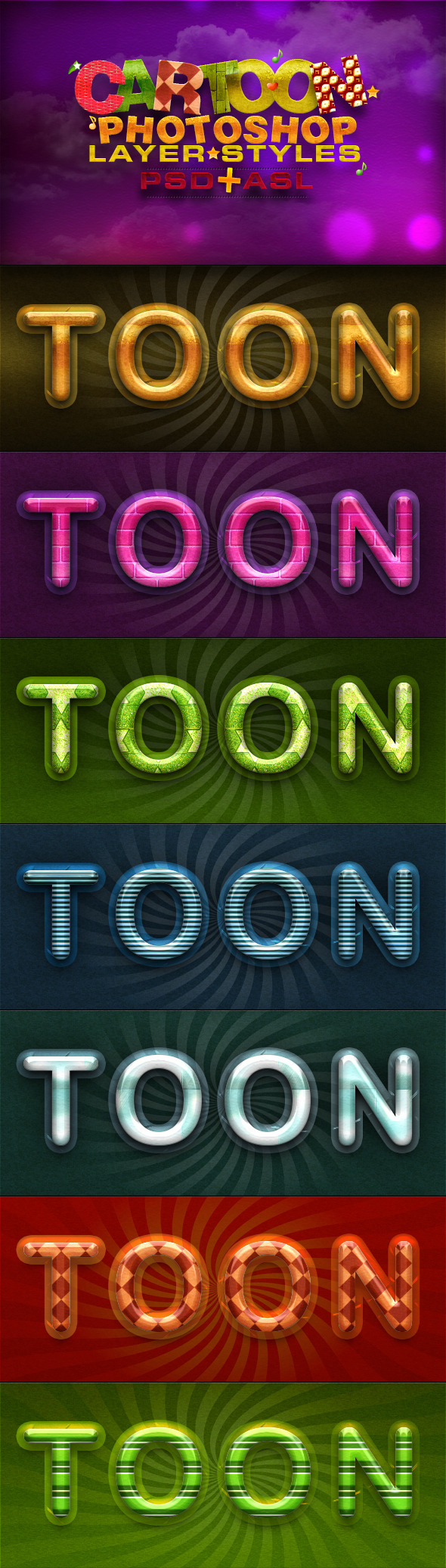 Cartoon Layer Styles - Text Effects Styles