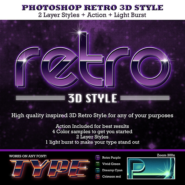 Retro 3D Text Style - Text Effects Actions