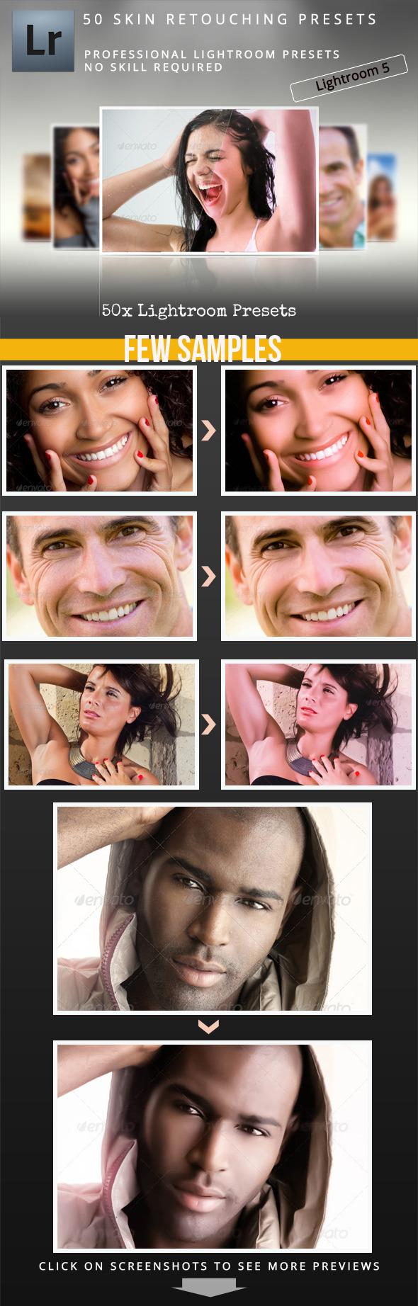 50 Skin Retouching Presets - Portrait Lightroom Presets