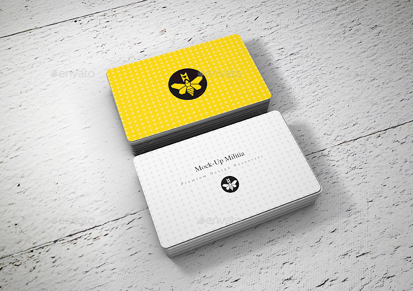 55x90 3mmround Edge Business Card Mock Up V2 Jpg