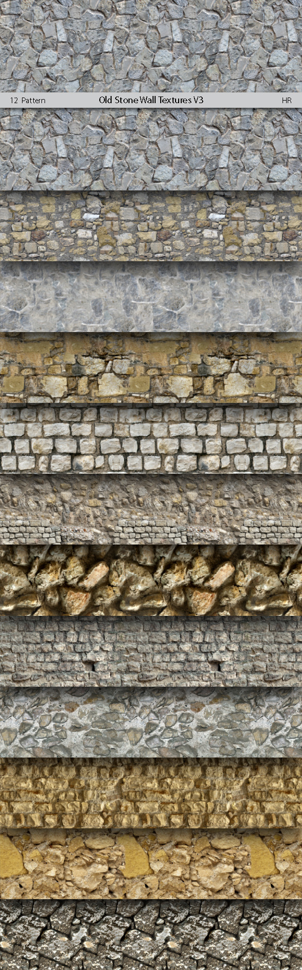Old Stone Wall Patterns V3 - Urban Textures / Fills / Patterns