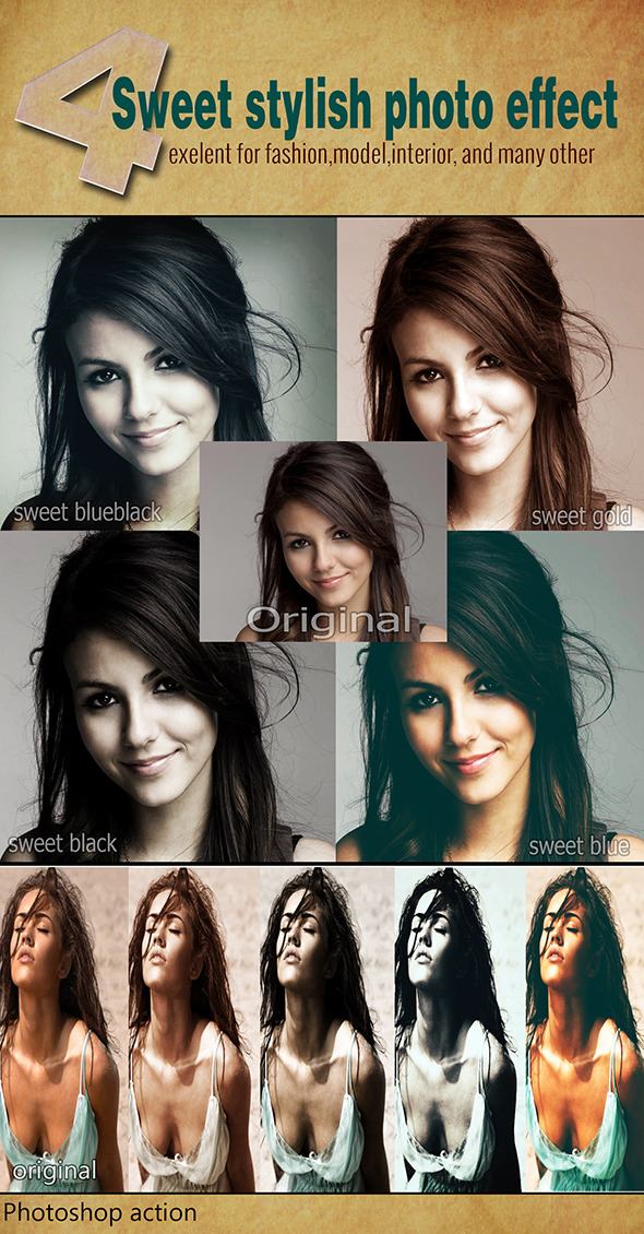 4 Sweet Stylish Photo Effects - Photo Effects Actions